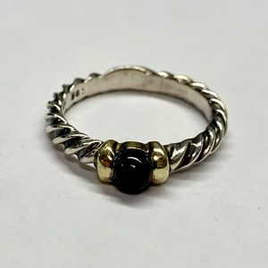 David Yurman Onyx Ball Cable Ring w/ 14k Gold